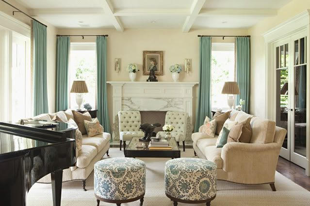 cream and turquoise living room: Decor, Curtains, Grand Piano, Furniture Arrangements, Formal Living Rooms, Colors Palettes, Colors Schemes, Furniture Placements, Ottomans