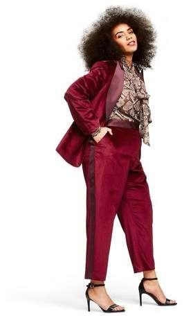 Altuzarra for Target Women's Plus Size Velvet Straight Leg Ankle Pants Red