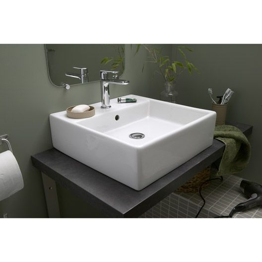 Vasque poser edge en c ramique 46 x 46 cm top bathroom pinterest interiors - Leroy merlin vasque een poser ...