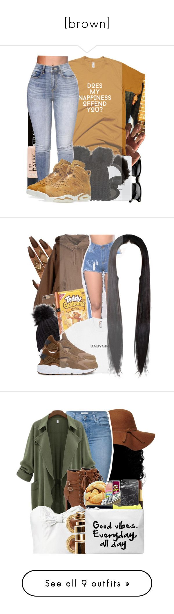 """""""[brown]"""" by finesseprincess ❤ liked on Polyvore featuring River Island, Barneys New York, Various Projects, NIKE, Erika Cavallini Semi-Couture, Miss Selfridge, Victoria's Secret, Dorothy Perkins, 7 For All Mankind and Kevyn Aucoin"""