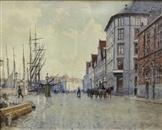 Carl Martin Soya-Jensen (1860-1912): Fra Børsgraven med Børsbygningen og De seks Søstre