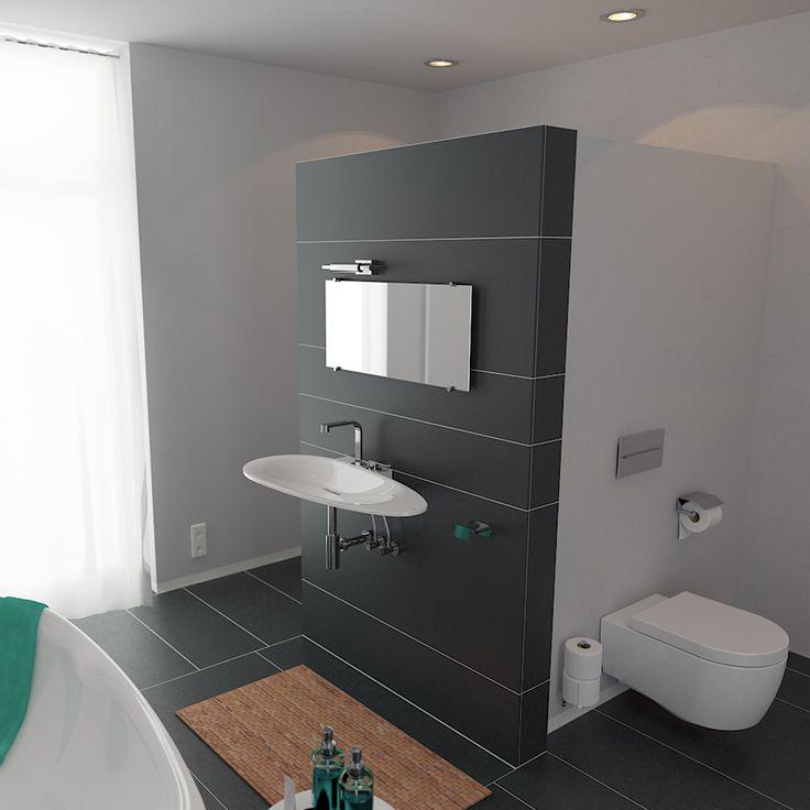 Deze badkamer is gecombineerd met First producten. Het vrijstaand ligbad is een First vrijstaand bad van aluite. De wastafel is een wastafel die aan de wand gemonteerd is. Het hangtoilet maakt de badkamer compleet.