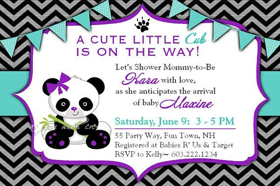 Panda Baby Shower Invitation Girl Invitation Panda Shower