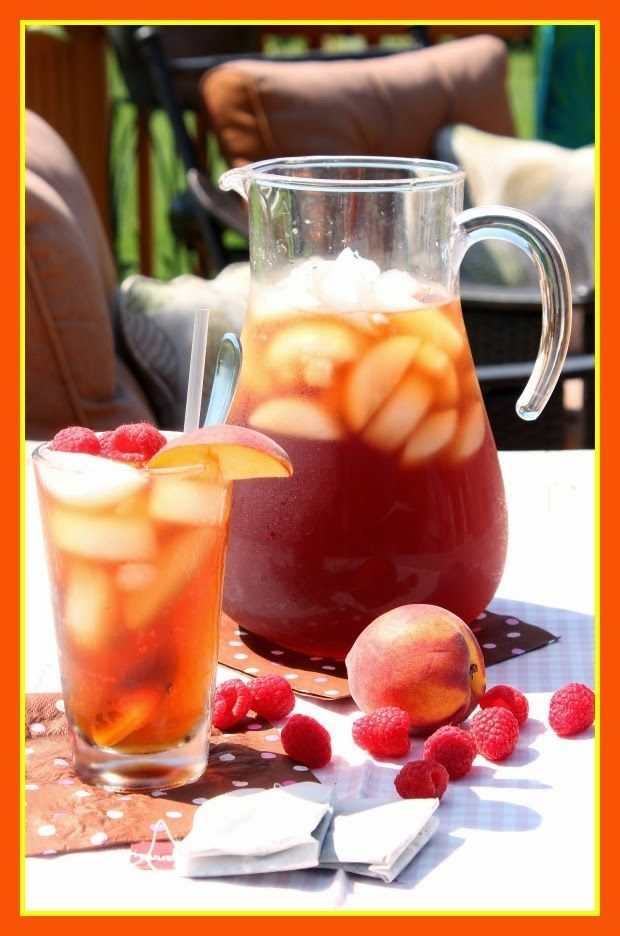 Peach and Raspberry Sun Tea Recipe via kudoskitchenbyrenee.com