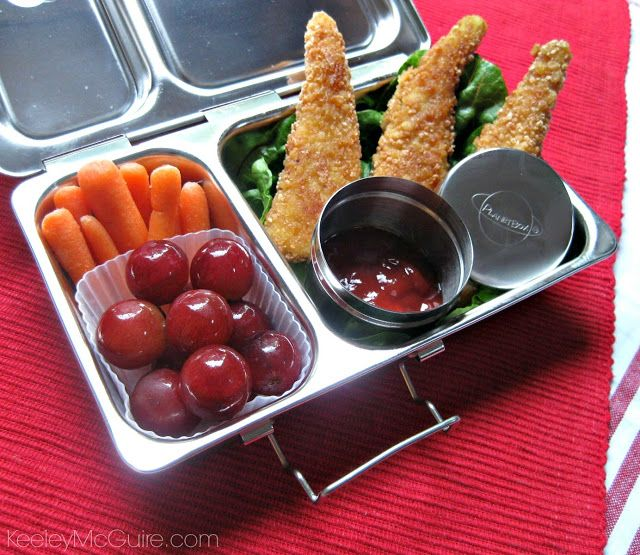 Keeley McGuire: @Planet Box Shuttle System Gluten Free Chicken Tenders, Organic Ketchup, Organic Carrots, & Organic Grapes Big Meal in One Little Lunch Box!