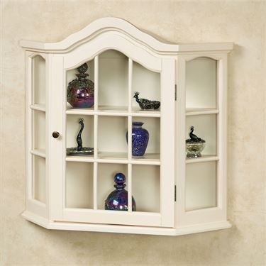 Amelia Whitewash Wooden Wall Curio Cabinet                              …                                                                                                                                                                                 More