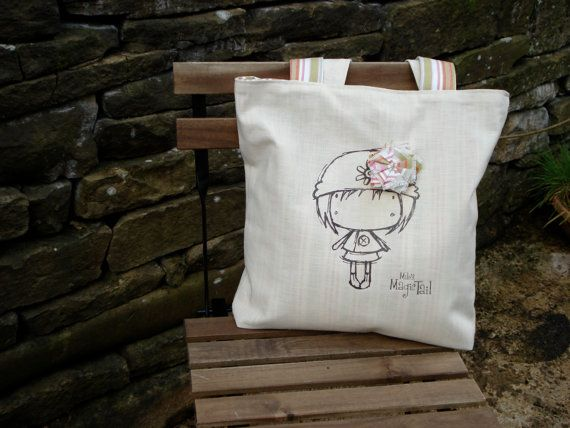 Cute tote bag with quirky girl illustration. by MilosMagicTail