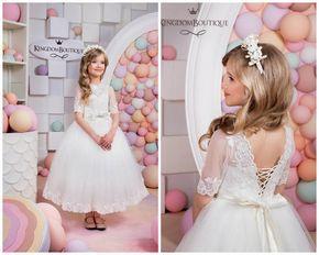 Pizzo avorio fiore ragazza vestito-compleanno di KingdomBoutiqueUA