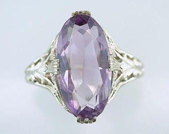 Vintage antiguo 10ct amatista 14K oro blanco Art Deco cóctel anillo de compromiso