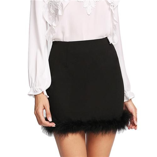 Solid Faux Fur Hem Black Mid Waist Above Knee Skirt With Zip Short Skirt