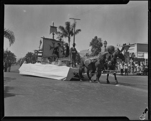 1930 Spanish Galleon Float in the parade of the Old Spanish Days Festival, Santa Barbara