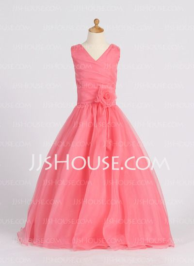 Flower Girl Dresses - $122.79 - A-Line/Princess V-neck Floor-Length Organza Satin Flower Girl Dresses With Ruffle (010007398) http://jjshouse.com/A-line-Princess-V-neck-Floor-length-Organza--Satin-Flower-Girl-Dresses-With-Ruffle-010007398-g7398