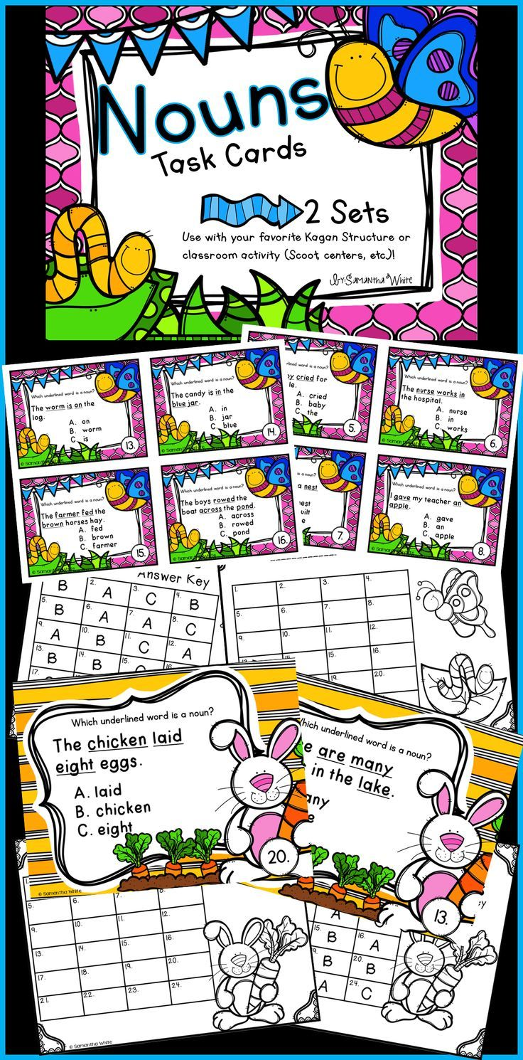 Your students will be actively engaged while practicing identifying nouns with these task cards that come with small cards AND large slides to display on your whiteboard.  Task cards are a wonderful tool to have on hand for independent practice, a game of SCOOT, Kagan activities, write the room, early finishers, centers, assessments and Kagan activities.  The Kagan Structure Numbered Heads Together is a favorite of my students!  We love to use the large slides with this Kagan Structure.