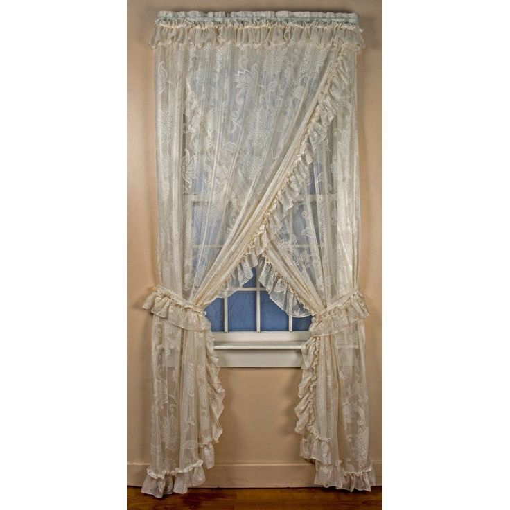ellis curtain beverly lace ruffled priscilla curtain panel set of 2 902 s63w - 63 Inch Curtains