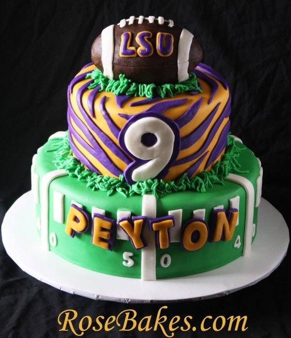 LSU Football Birthday Cake (and near disaster with cake!!)  see more pics on my post!