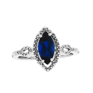 White Gold Marquise Cut Sapphire September Gemstone Diamond Ring