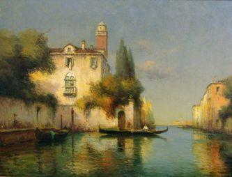 Бувар Антуан (1870-1956) - 'Гондолы на канале в Венеции' 1940-е - 1950-е годы - Купи | искусство | Постила