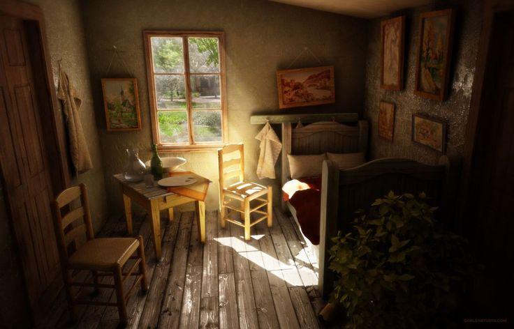 Van Gogh's Bedroom and Paintings.