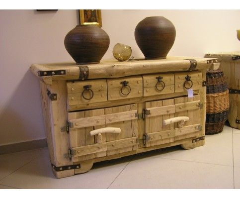 Dębowo-sosnowa komoda z litego drewna - SPRZEDANA