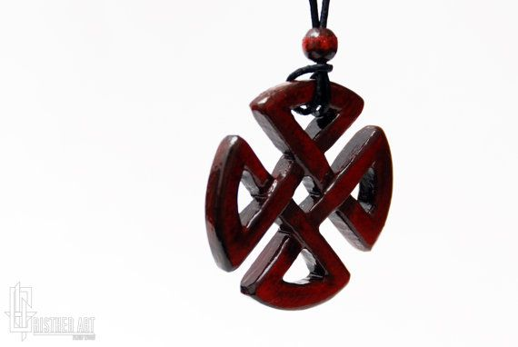 Celtic Shield Knot Necklace  Carved Wood Celtic by CristherArt