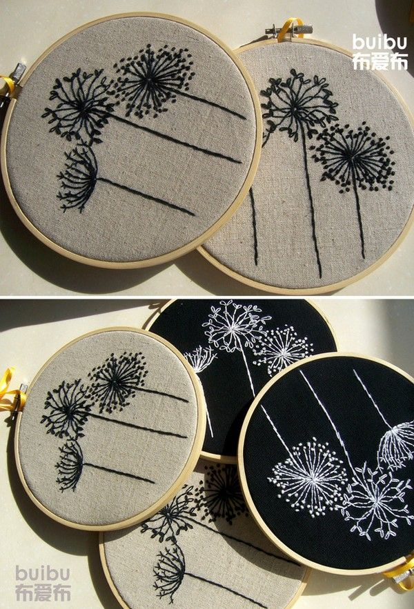 embroidered seed heads