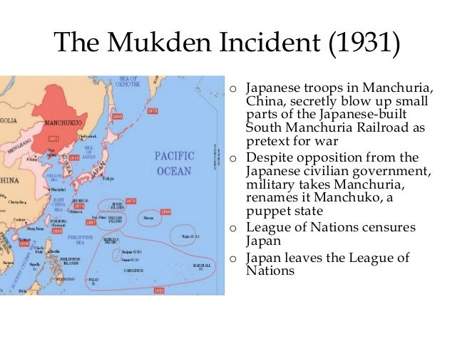 Mukden Incident, also called Manchurian Incident,  (1931), seizure of the Manchurian city of Mukden (now Shenyang, Liaoning province, China) by Japanese troops, which was followed by the Japanese invasion of all of Manchuria (now Northeast China) and the establishment of the Japanese-dominated state of Manchukuo (Manzhouguo) in the area.