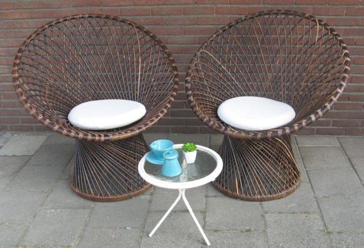 2 x retro design fauteuil vintage rotan set Primavera stoel.#BlijeSpullen.nl | Amersfoort