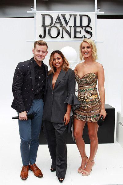 David Jones Hosts Joel Creasey, Olivia Phyland pose with Jessica Mauboy (c) ahead of the ARIA Awards 2015 at The Star on November 26, 2015 in Sydney, Australia.