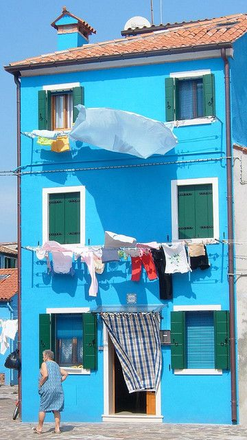 """Burano, Italy Laundry lady & her fabulous blue house * By ZedBee 