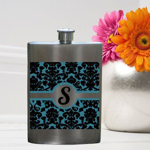 What a fun bridesmaid or bachelorette party gift!  Damask Party Girl Flask (JDS Engravables GC976damask) | Buy at Wedding Favors Unlimited (http://www.weddingfavorsunlimited.com/damask_party_girl_flask.html).