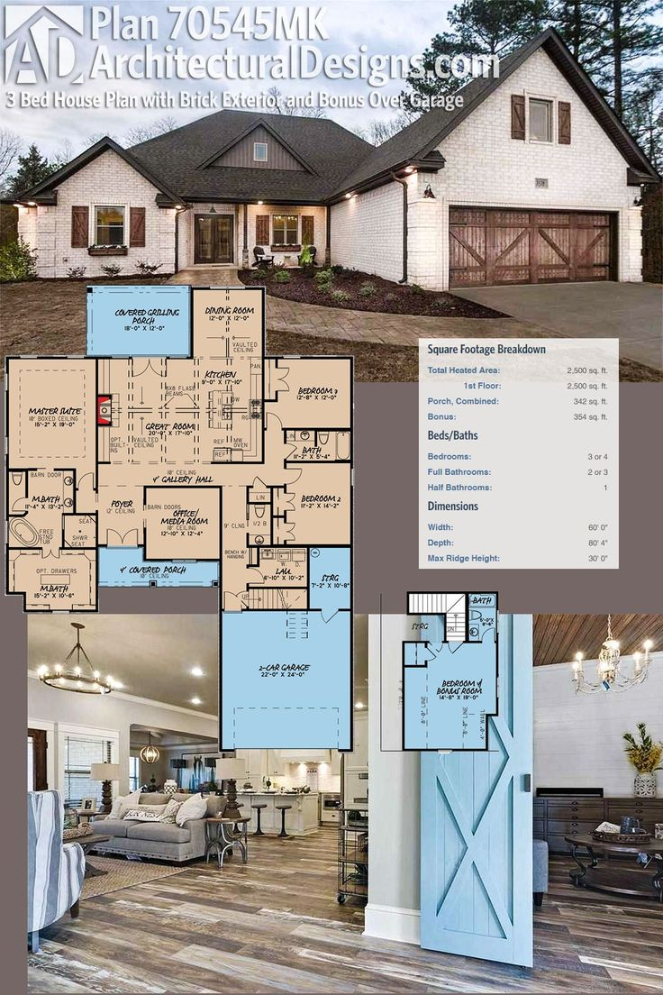 Architectural Designs House Plan 70545MK has a brick exterior, and with the bonus room with bath over the garage gives you the potential of having 4 bedrooms. Enjoy 2,500 square feet of heated living space inside. And the covered grilling porch in back. Ready when you are. Where do YOU want to build?