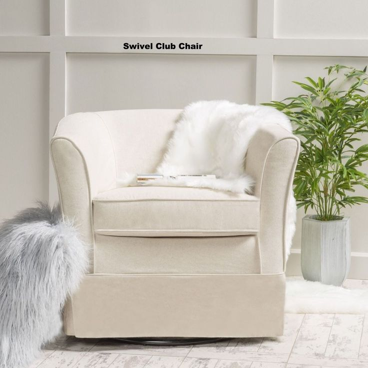 Swivel Club Chair Living Room Den Fabric Contemporary  Classic Home Decor Soft #SwivelClubChair