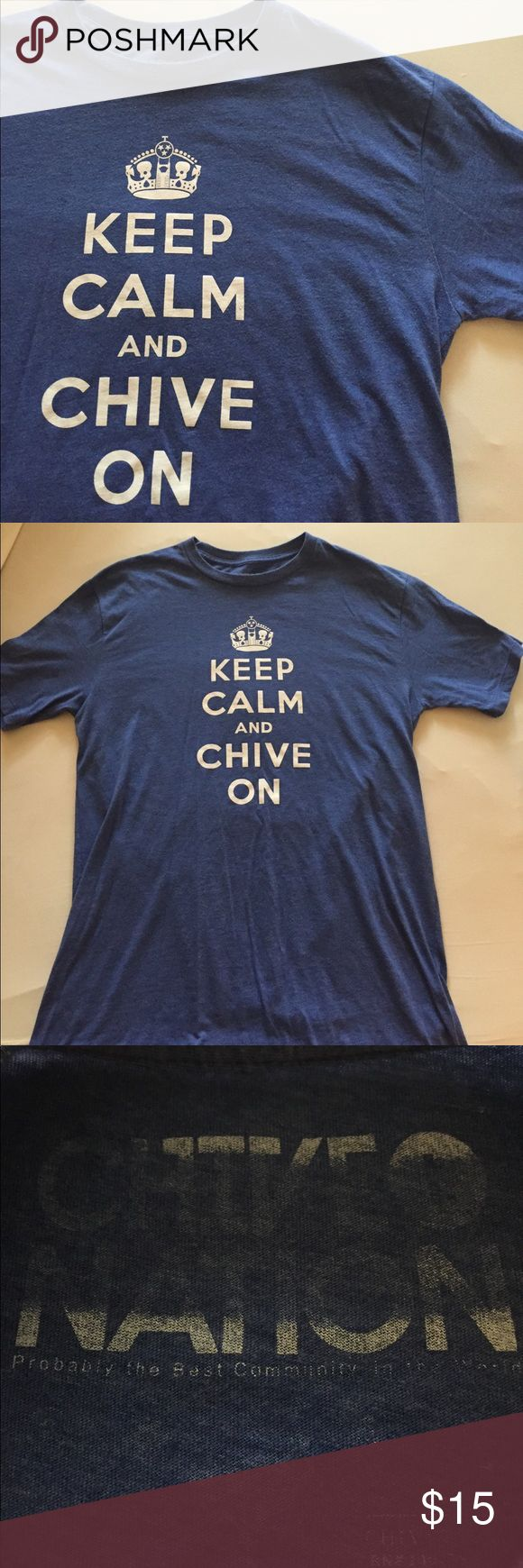 Keep Calm Chive On Pre loved Chive shirt. Men's size large but also would fit a women's size large. It's on the smaller size for me. Shirts Tees - Short Sleeve