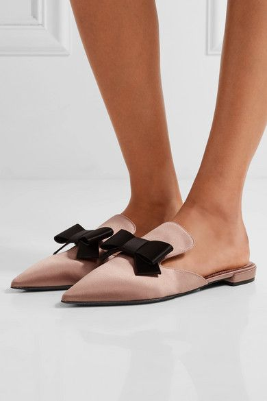 Prada | Bow-embellished satin slippers | NET-A-PORTER.COM