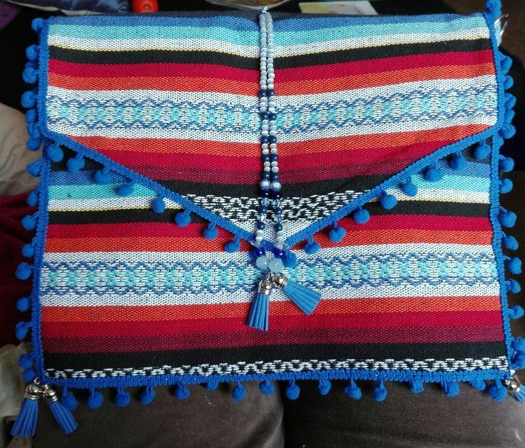 Bolso étnico con tela típica de Manchega
