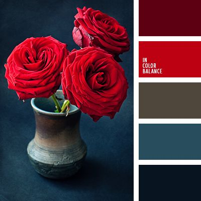 Deep, rich shades of red roses in combination with blue-black, blue and muted neutral brown. The color scheme is a classic solution for male and female evening wardrobe. In such suits and dresses made to attend the theater, conservatory, gourmet restaurants, some corporate events.