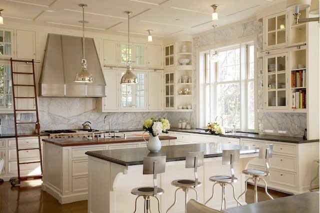 amazing kitchen.: Dreams Kitchens, Libraries Ladder, Glasses Cabinets, Double Islands, Farmhouse Kitchens, White Cabinets, White Kitchens, Cabinets Doors, Sweet Life