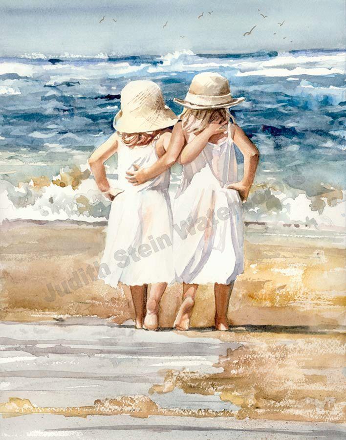 Beach schippers is een Open Edition Giclee Art Print van een aquarel met twee jonge meisjes overslaan arm in arm naar het strand. Oceaan blues verlicht de hemel op een mooie zonnige middag op het strand. Wat een geweldige dag voor vrienden te hebben een beetje feest en omhoog hun hielen schoppen en spelen! Deze kleine aardbei blondjes genieten van elkaars bedrijf alsmede de mooie dag op de Oceaan. De vogels vliegen door de lucht in de zachte oceaan bries soepel zoals het geluid van de golven…