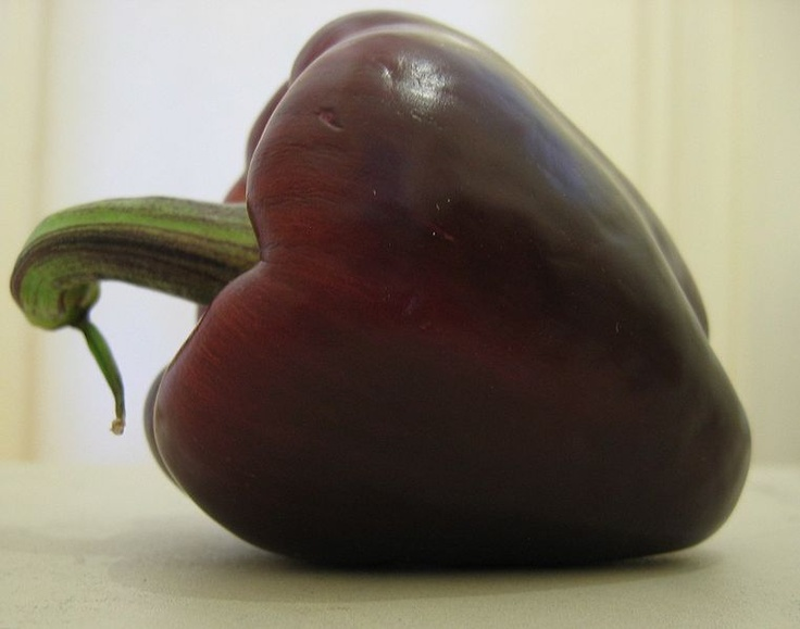 Purple bell pepper! Stuffed with dirty rice, this will be a perfect food for watching LSU football this fall - tasty AND shows team spirit. (Will work for watching Clemson games with the hubby too!)