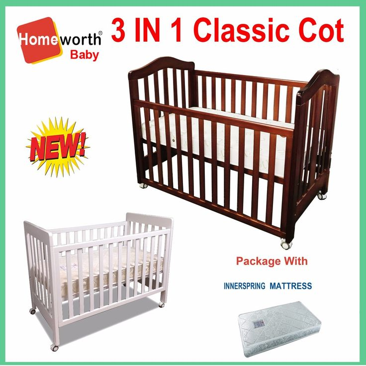 NEW 3 IN 1 CLASSIC COT & MATTRESS CRIB  BABY TODDLE BED WHITE DARK BROWN walnut