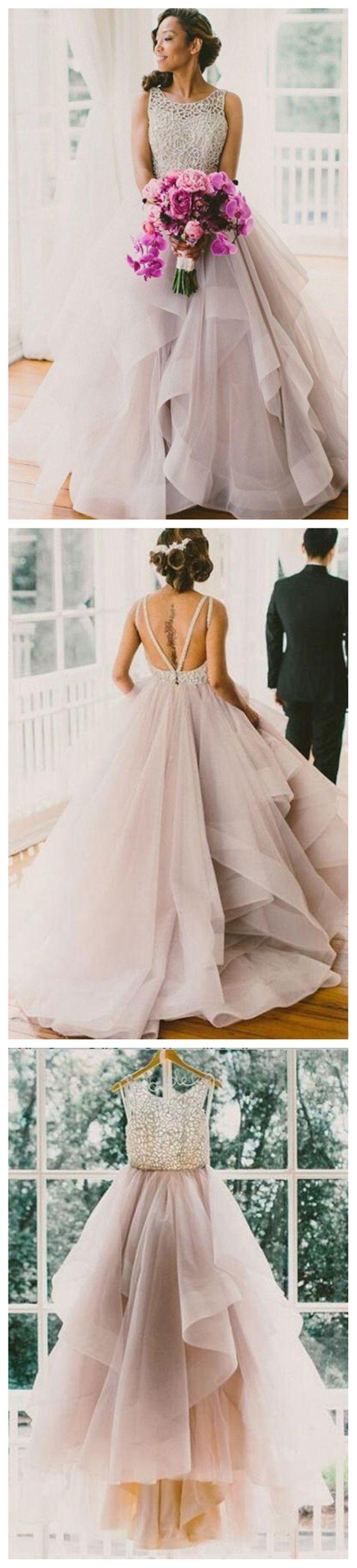 A line Scoop Neckline Organza Wedding Dresses, 2017 Long Custom Wedding Gowns, Affordable Bridal Dresses, 17115