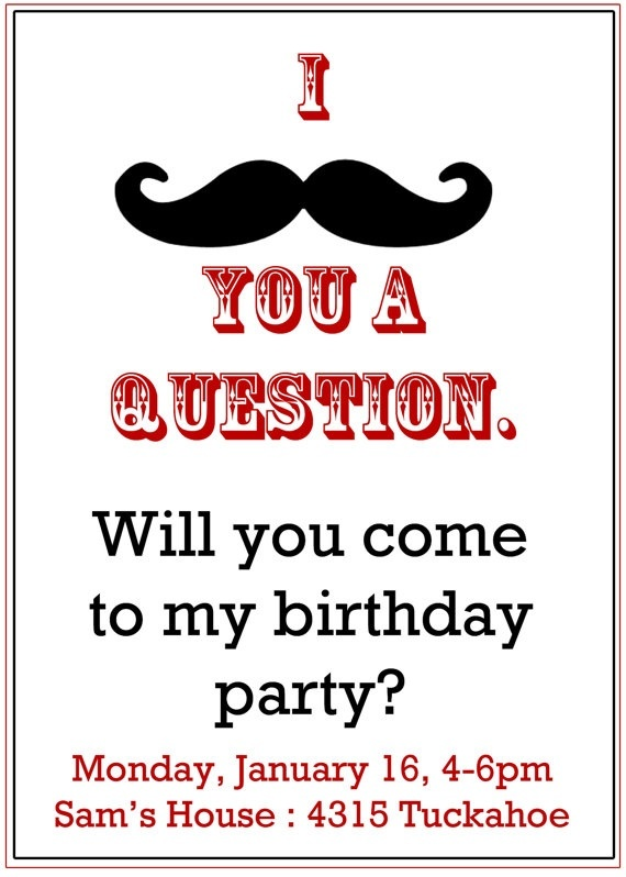 Mustache Party Invites is awesome invitation design