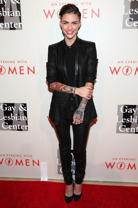 How to rock a black suit for a formal event, courtesy of Ruby Rose