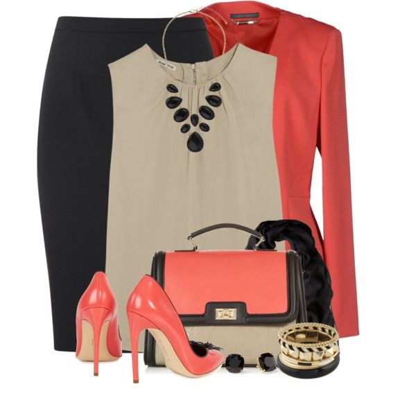 """Coral For the Office"" by brendariley-1 on Polyvore"