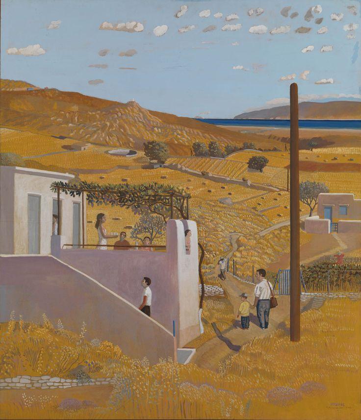 Kythnos ,2002 by Costas Papanikolaou. Κώστας Παπανικολάου, «Κύθνος», 2002, αβγοτέμπερα σε κοντραπλακέ θαλάσσης