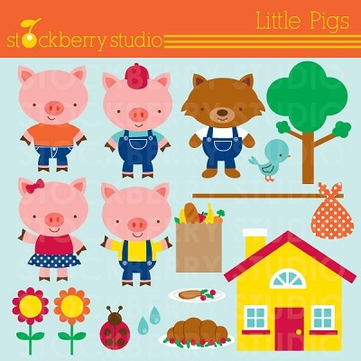 The Little Pigs clipart set. Pig, Girl Pig, Roast beef, Market bag, House, Wolf and more!