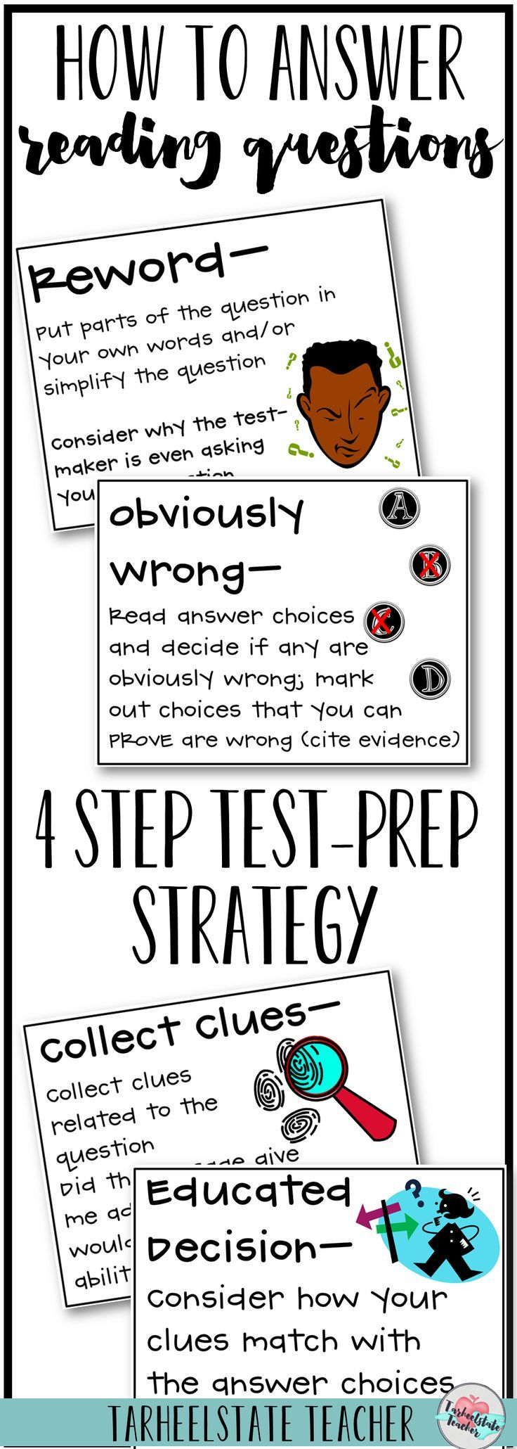 """Teach your students this 4 Step Reading Test Taking Strategy for answering Reading Comprehension questions; The """"Thinking Through Reading Tests"""" resource also includes reading test prep strategies and a test talk minilesson structure for helping your students understand the design of their standardized reading tests. You'll want to include this unit into your reading test review plans."""
