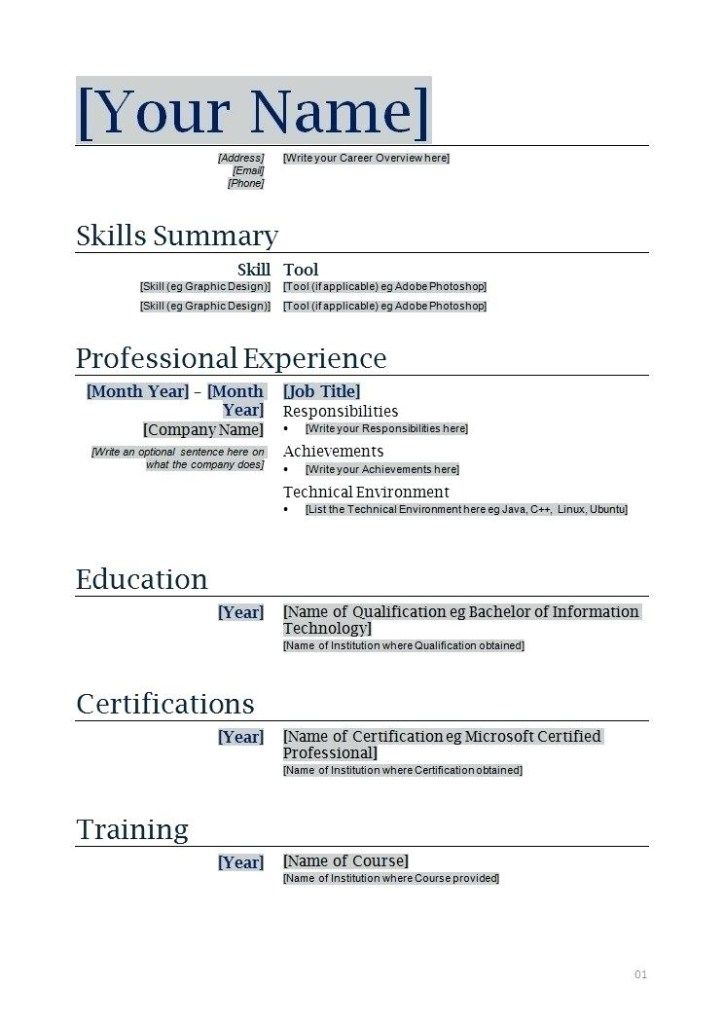 Inspiring Resume Copy And Paste Template Collection copy ...