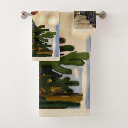 Southwestern Desert Oasis Abstract Art Bath Towel Set - western style diy unique customize stylish