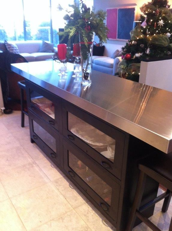 One of our Industrial Barrister Sideboards being used as a bar in our customer's home! Check out our website to get your very own and more!